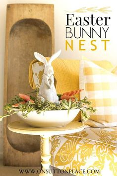 Easy step-by-step to make this DIY Easter Bunny Nest. Use what you have or find the elements at your local craft store!