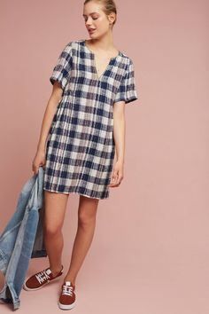 Slide View: 3: Textured Gingham Swing Dress