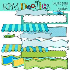 Blues and Greens Page Headers banners digital by kpmdoodles, $3.50