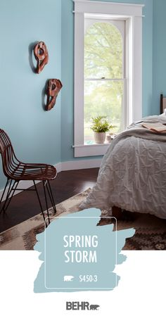Traditional style meets a fun wall color in the form of Behr Paint in Spring Storm. This light blue Dark Wood Bedroom Furniture, Gray Painted Furniture, Blue Painted Walls, Blue Bedroom Walls, Bedroom Wall Colors, Gray Walls, Furniture Design, Furniture Decor, Bedroom Decor