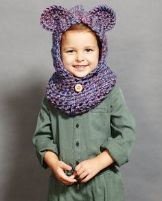 Girl's Purple Bear Snoodie by theseamdesigns on Etsy