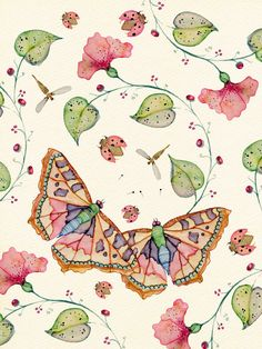 Butterflies. Featuring Buttermoths watercolor paintings on My Paisley World~ http://mypaisleyworld.blogspot.com/
