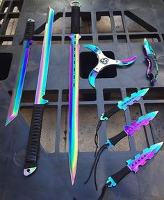 Aaaaa, I want the katana, broadsword, and the wicked looking pocket knife Armas Ninja, Cool Knives, Knives And Swords, Pretty Knives, Shuriken, Pokemon Go, Firearms, Arsenal, Weapons