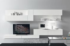 Modern living room is no longer just a part of the house but it is the most essential and active area. 50 modern living room furniture design ideas by Presotto. Room Furniture Design, Modular Furniture, Living Room Furniture, House Furniture, Living Room Tv, Living Room Modern, Living Room Interior, Wall Storage Systems, Storage Shelving