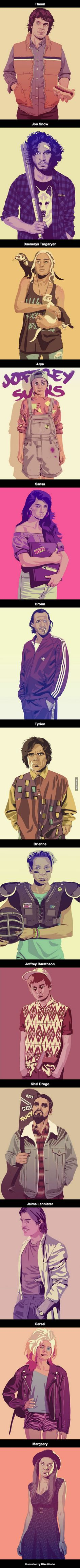 Game of Thrones 90's Style by Mike Wrobel... et avec un côté GTA vice city