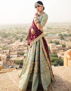 Beautiful Taffeta-silk Lehenga-Choli with traditional embroidery work inspired by rajmahal. Indian Bridal Lehenga, Indian Bridal Wear, Indian Wedding Outfits, Bridal Outfits, Indian Outfits, Wedding Dresses, Indian Attire, Indian Ethnic Wear, Pakistani Dresses
