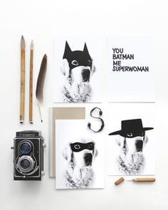 4 x Postcard Super Hero