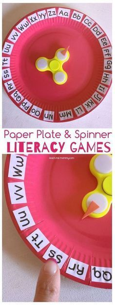 Paper Plate & Spinner Literacy Games. This makes learning letters extra fun for preschool and kindergarten.