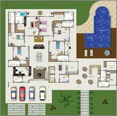 Projeto de casa térrea de 6 quartos com 309,71m²