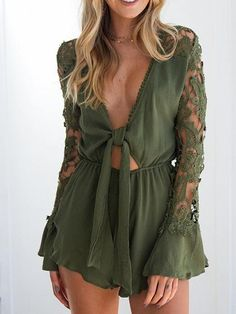 5297b229a3 Green Cotton Plunge Lace Panel Long Sleeve Chic Women Romper Playsuit.  MYNYstyle