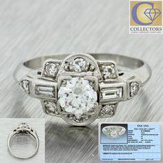 1930s Antique Art Deco Solid Platinum .49ct Diamond Band Ring EGL
