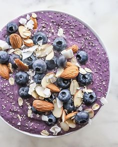 Blueberry Banana And Almond Butter Smoothie Bowl • Nick Joly | Health + Wellness