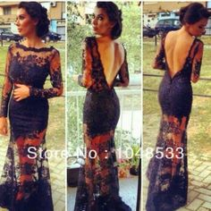Free Shipping  Sexy Black V Back Black Long Sleeve Lace Prom Dress-in Prom Dresses from Apparel & Accessories on Aliexpress.com