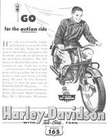 Harley-Davidson 165 Motorcycle 1953 Ad Picture