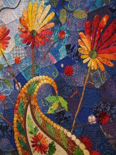 Open Up! Your Dream Flower (det) - by Japanese quiltmaker Harumi Asada: Paisley quilt, machine pieced, hand appliquéd, leather appliquéd