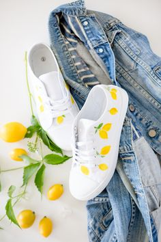 f693d7a8230 Lemon Print Shoes with DecoArt Stylin multi-surface fashion acrylic