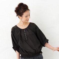 3/4-Sleeve Lace-Trim Top from #YesStyle <3 ageha@shibuya YesStyle.com