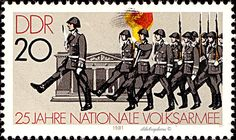 German Democratic Republic. NATIONAL PEOPLE'S FORCES 25th ANNIVERSARY.  CHANGING OF GUARDS. Scott 2159 A651, Issued 1981 Jan 27,  Photo., Perf. 14, 20. /ldb.