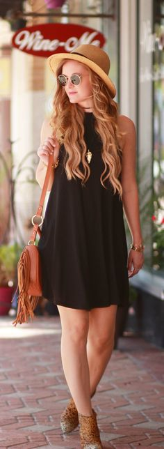 Black swing dress and matisse leopard booties, easy weekend outfit