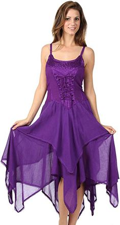 6beba6096f1 Sakkas 0131 Corset Style Bodice Jaquard Lightweight Handkerchief Hem Dress  - Purple - One Size Plus