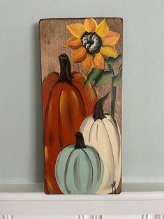 Wood Pumpkins, Painted Pumpkins, Fall Pumpkins, Glitter Pumpkins, Painted Signs, Hand Painted, Painted Wood, Fall Halloween, Halloween Crafts