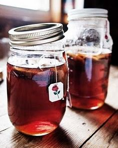 Tea in mason jars. This is my favorite tea to drink daily. Red Rose (just a brand not a flavor) It's black tea but robust.dm