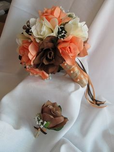 Silk Bridal Bouquet and Boutonniere  Peach Ivory Brown with satin ribbons