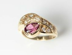 14K Yellow Gold Pink Tourmaline & Diamond Ring Size 7.25