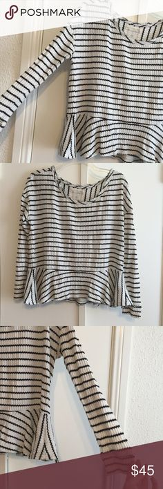 Free People Striped Peplum Waffle Tee Free People Striped Peplum Waffle Tee Free People Tops Tees - Long Sleeve
