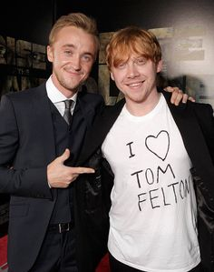 Tom Felton (Draco Malfoy) and Rupert Grint (Ron Weasley) Harry Potter 6, Mundo Harry Potter, Tom Felton, Draco Malfoy, Severus Snape, Hermione Granger, Rupert Grint, Planet Of The Apes, James Franco