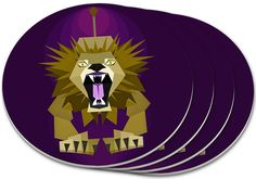 """Amazon.com: Custom & Cool {4"""" Inches} Set Pack Of 4 Round Circle """"Grip Texture"""" Drink Cup Coasters Made of Plastic w/ Cork Bottom w/ Wild Geometric Lion Roaring Design [Colorful Purple, Brown & Yellow]: Home & Kitchen"""