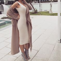 Chic Outfits, Fashion Outfits, Womens Fashion, Fashion Trends, Body Hugging Dress, Nude Dress, Elegant Outfit, Business Outfits, Outfit Goals
