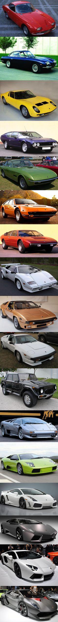 Chronology Of Lamborghini Prodution (not including concept vehicles) From Top to Bottom:   350 GT;  400 GT 2+2;  Miura;  Espada;  Islero;  Jarama;  Urraco;  Countach;  Silhouette;  Jalpa;  LM002;  Diablo;  Murciélago;  Gallardo;  Reventón;  Aventador;  Sesto Elemento.