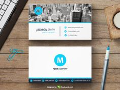 Corporate blue business card template by Freebcard.com