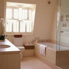 Attic bathroom with New England style Attic Bathroom, Family Bathroom, White Bathroom, Paint And Paper Library, Limestone Tile, New England Style, Door Wall, Bathroom Styling, Amazing Bathrooms