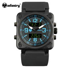 INFANTRY Mens Sports Wristwatches Army Military Watches for Boys Bule Rubber Bracelet Watches Dual Time Light Relogio Masculino