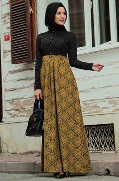 Gamis Batik Kombinasi Busana Muslim Pinterest
