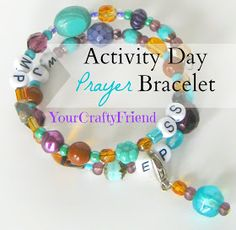 What is a Prayer Bracelet (or Personal Progress Bracelet)? It is a beautiful beaded memory wire bracelet that has a charm that you. Primary Activities, Young Women Activities, Activities For Girls, Church Activities, Crafts For Girls, Summer Activities, Sisterhood Activities, Bible Activities, Daily Activities