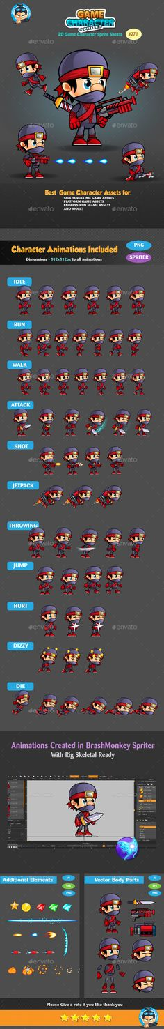 This assets is for developers who want to create their mobile game apps for IOS and Android games and need Game Enemies Character Spritesheets for their projects.  Best assets for game Like: Shooting game, Running Game,Platform Game, and more side Scrolling games.