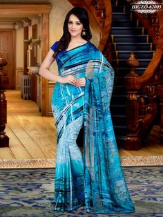 SkyBlue Colour Georgette Printed Saree With Unstitched Blouse - Printed Sarees - Shop By Type - Sarees