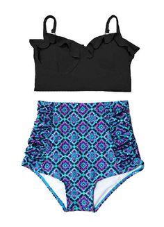 Black Midkini Top and Mint Burgundy Line Thai High by venderstore vintage bikini, vintage swimsuit, mom bod, post baby body, high waist bikini