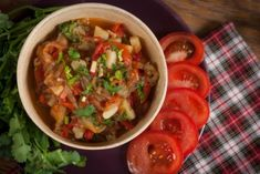 Ajapsandali. Georgian Vegetable Dish consisting of eggplants, bell peppers and tomatoes.