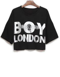 Black Short Sleeve Silver BOY LONDON Print T-Shirt - Sheinside.com