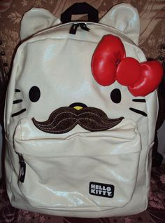 Hello Kitty with 3D Mustache and red bow Loungefly backpack SOLD OUT! EUC! #HelloKitty #Backpack