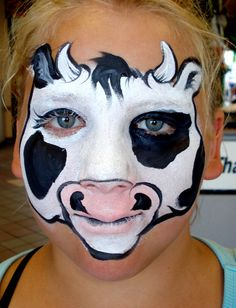 DIY Cow Face Paint #DIY #Halloween #HalloweenCostumes #Costumes #FacePainting #Birthdays #Birthday #Parties #Party #Cows