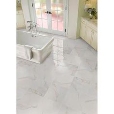 Bathroom Flooring, Kitchen Flooring, Bathroom Wall, Marble Bathroom Floor, Tile Flooring, Kitchen Tiles, Master Bathroom, Bathroom Ideas, Marble Look Tile