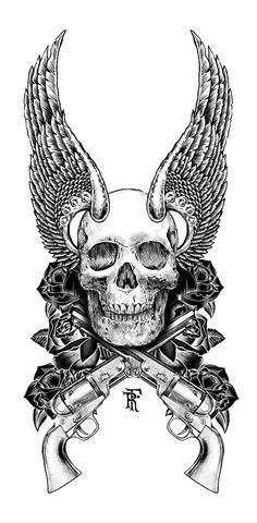 Guns and Roses - the grace & perils of deliberating arguments. - wings out to the side less horn-like Totenkopf Tattoos, Guns And Roses, Geniale Tattoos, Illustration, Skull Tattoos, Gun Tattoos, Skull Design, Grim Reaper, Skull And Bones