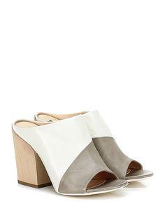 Fiori Francesi - Sandalo alto - Donna - Sandalo alto in pelle con suola in cuoio, tacco 100. - TAUPE\BIANCO - € 189.00
