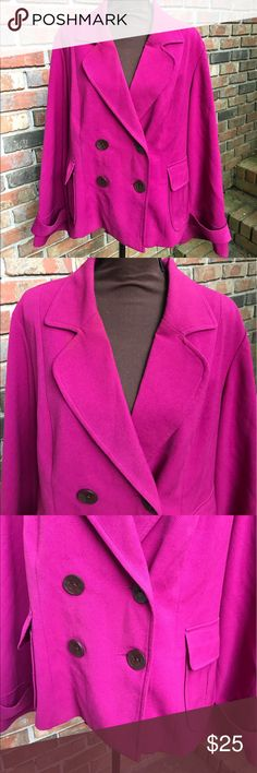 Dark Raspberry Purple Double Breasted Pea Coat Used | Excellent Condition | Signs of Wear on Collar and Piling Around Edges ; Hardily Noticeable | Dark Raspberry Purple Color | Double Breasted Pea Coat | 4 Buttons on Front | 1 Button on Each Wrist | 1 Pocket on Each Side | Length: 14ins | Bust: 46ins | Sleeve Length: 25ins | 63% Polyester | 33% Rayon | 4% Spandex | Lining: 100% Polyester | George Jackets & Coats Pea Coats