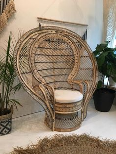 City Furniture 2 Rattan Peacock Chair 1970s Wicker Old